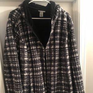 Black and white zip up coat